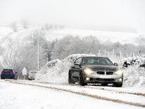 Drivers in the Peak District faced a harder journey on snow on Friday