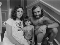 Collins with his first wife Andrea Bertorelli and daughter in 1976