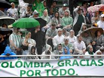 Fans came together under heavy rain at the Chapecoense stadium