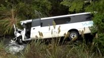 The bus crashed down an embankment and in to a steam