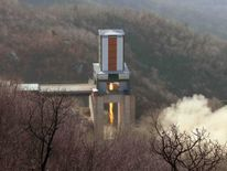 An image released by North Korea said to be a test of an engine for its ICBM