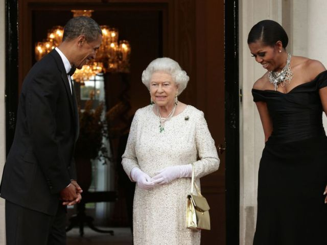 Barack and Michelle Obama with the Queen during his state visit to the UK