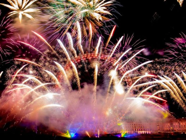 Fireworks light up the sky in London