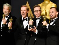 Best Sound Mixing: Hacksaw Ridge -  (L-R) Sound mixers Peter Grace, Robert Mackenzie, Kevin O'Connell and Andy Wright