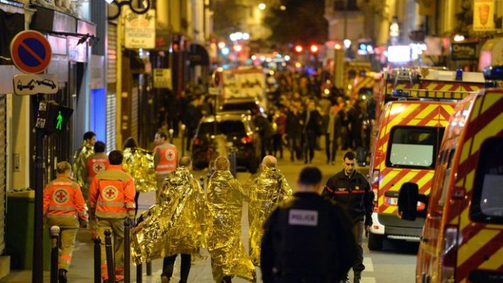 People are being evacuated near the Bataclan concert hall