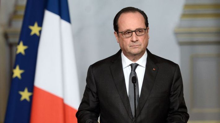 Francois Hollande speaks to the nation from the Elysee Palace a day after the attacks