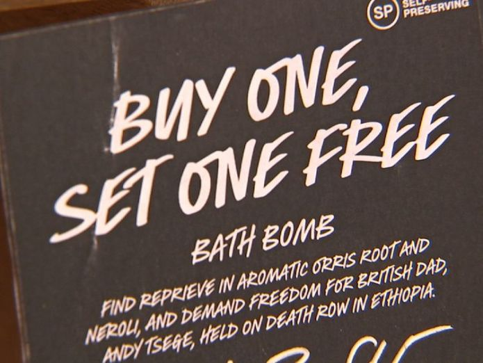 The retailer Lush is supporting Andy Tsege with a bath bomb called Buy One Set One Free Ethiopia 'to release Briton Andy Tsege' after four years in jail Ethiopia 'to release Briton Andy Tsege' after four years in jail 79c2a963a5f42f385b00cf3e38a190584a32849a2cbf07d4c4170c875e3c0354 3911836