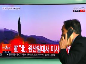 News of the missile launch emerges on a South Korean news channel