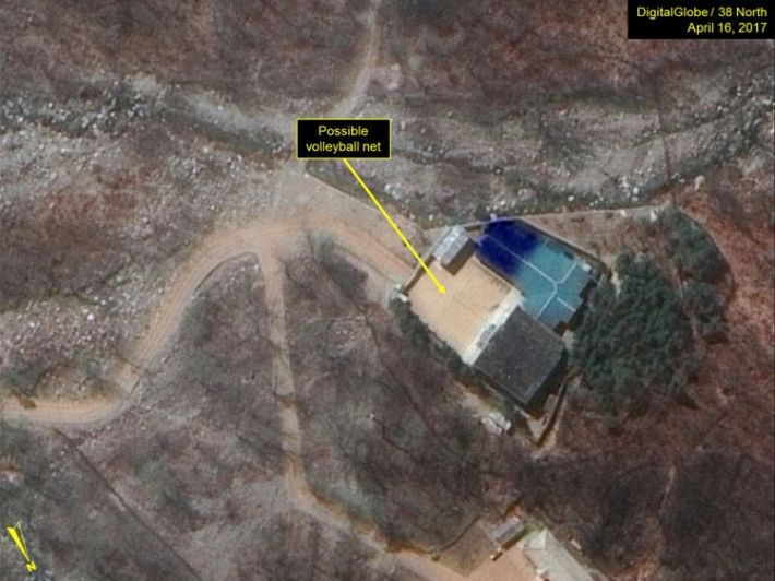 A possible volleyball net seen in the command centre area. Pic: Digital Globe Inc / 38 North
