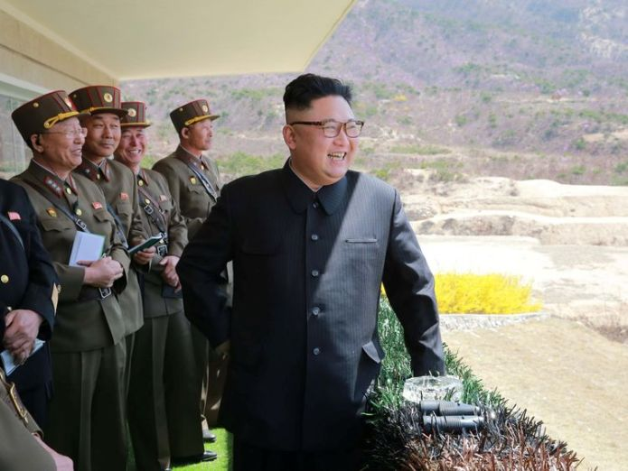 North Korean Leader Kim Jong Un observes a target-striking contest