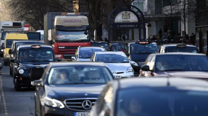 Vehicles pass Marylebone Road, one of the most polluted in London