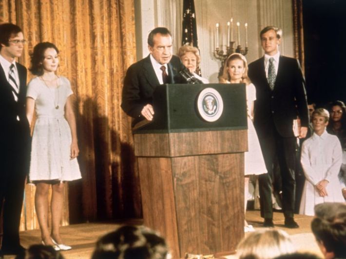 Richard Nixon at the White House with his family after his resignation as President, 9 August 1974.