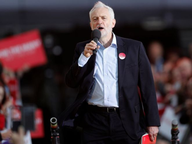 Jeremy Corbyn addresses a rally in Birmingham