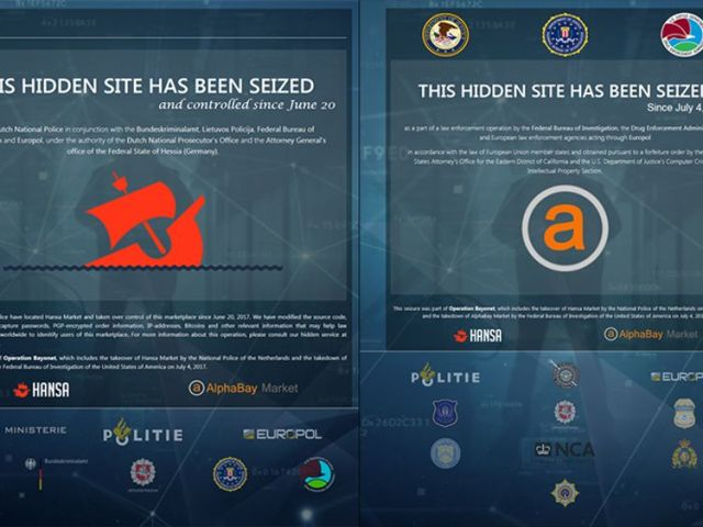 The pages now displaying to those visiting the darknet markets