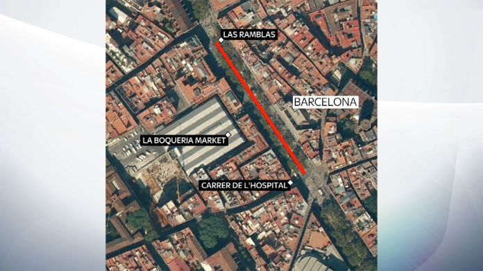 The route taken by the van through Las Ramblas Europe's cities face threat of 'sleeper' extremists Europe's cities face threat of 'sleeper' extremists 3035ee0f5f0670184cbea717e618e9e8f0c79df57b67e41f1c3ec6bc359742d5 4076429