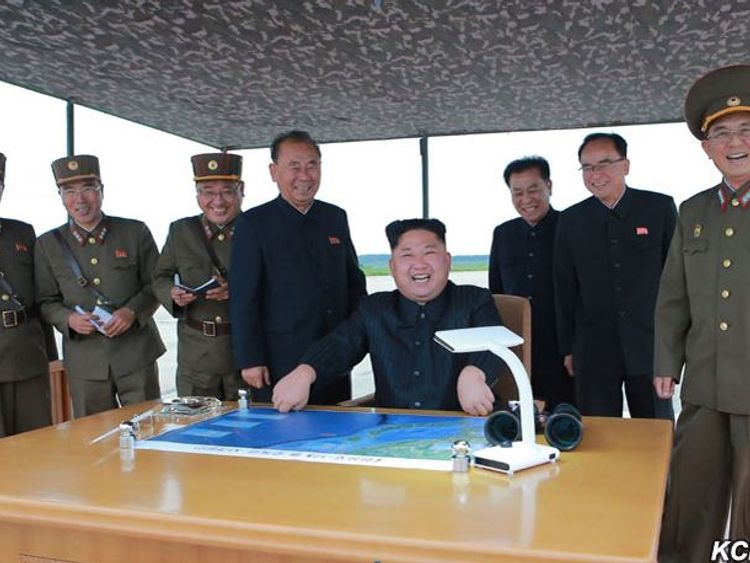 Kim Jong Un celebrates the latest missile test Pic: KCNA