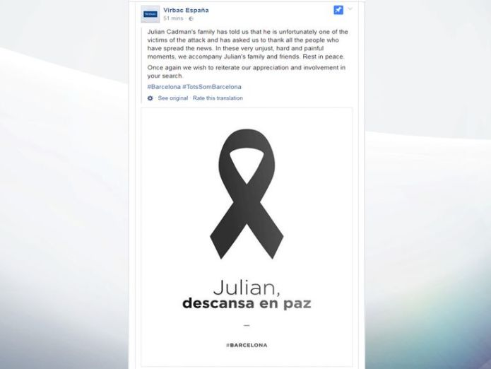 Statement confirming death of Julian Cadman, 7, in Barcelona attack British boy confirmed as being among victims of Barcelona attack British boy confirmed as being among victims of Barcelona attack 8ad384a8246208d4ae24391d2fada7f4a15efc8a0a49a6820a810229bac9a182 4078552