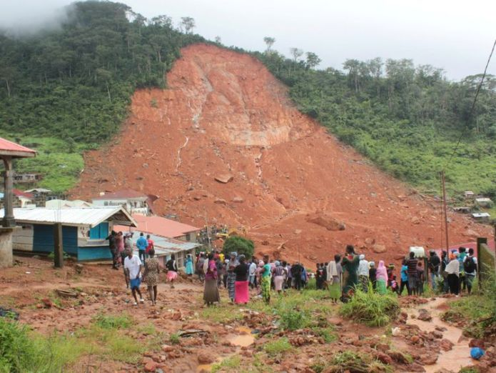The mudslide in the mountain town of Regent, Sierra Leone Over 1,500 still missing in Sierra Leone's flood-hit capital as morgue overwhelmed Over 1,500 still missing in Sierra Leone's flood-hit capital as morgue overwhelmed 92939370d1c33122a3ae4837fa1059929e56d35a923377b3daa771f9fd24caa3 4074267