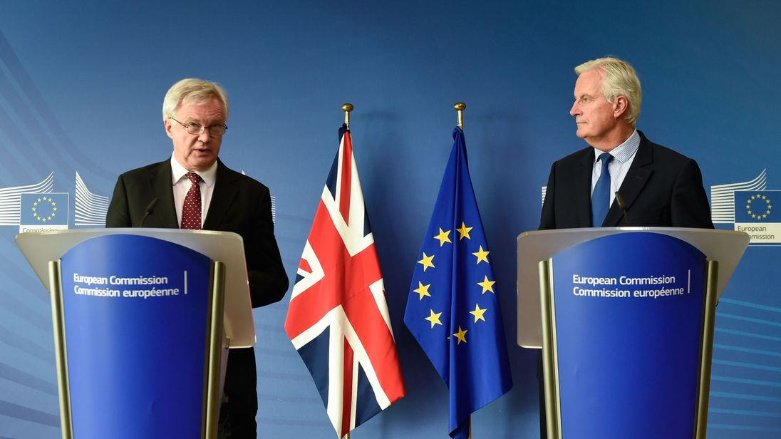 Mr Barnier and Mr Davis gave a joint press conference in Brussels on Monday