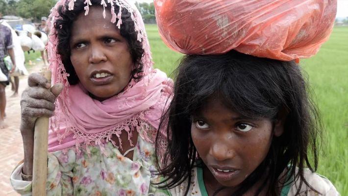 Rohingya children escaping violence on the Bangladesh-Myanmar border