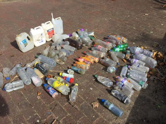 Plastic bottles collected from the River Thames