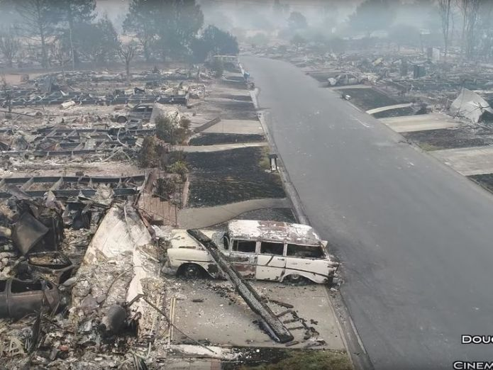 An aerial view of the devastation caused by the California wildfires, in Santa Rosa, California Power lines caused California's devastating fires Power lines caused California's devastating fires skynews california fire aerial 4126351