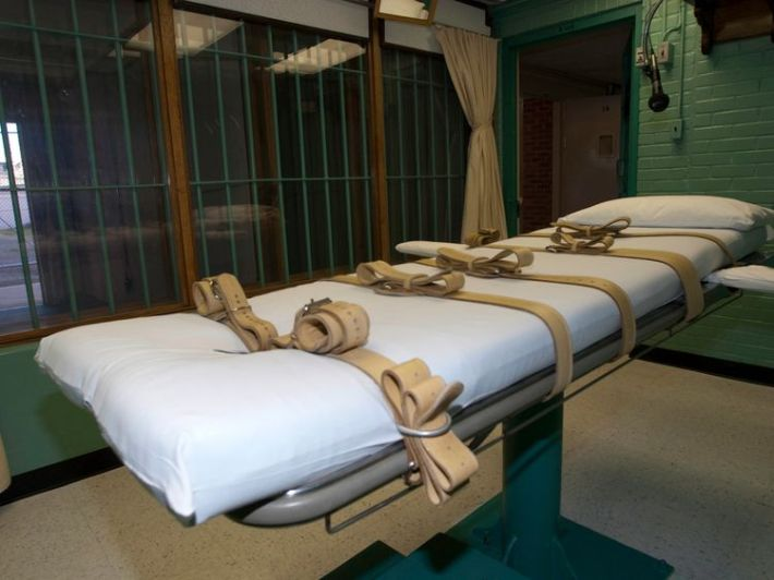 The death chamber at the state penitentiary in Huntsville, Texas