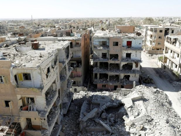 Destroyed buildings in a residential district at the frontline in Raqqa