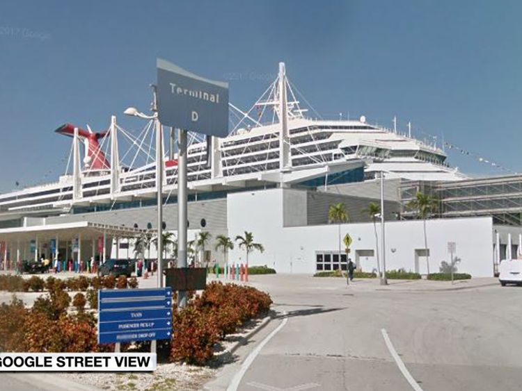 The embarkation point for cruise ships docked at PortMiami