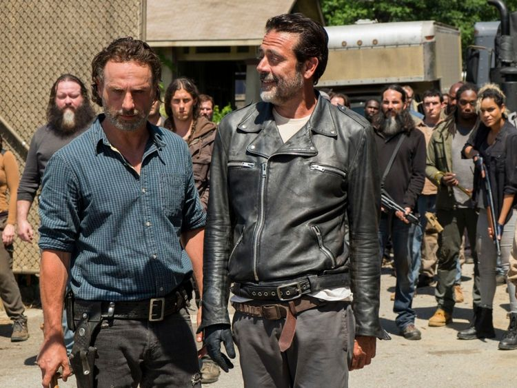 Andrew Lincoln as Rick Grimes, Jeffrey Dean Morgan as Negan..- The Walking Dead _ Season 7, Episode 4 - Photo Credit: Gene Page/AMC