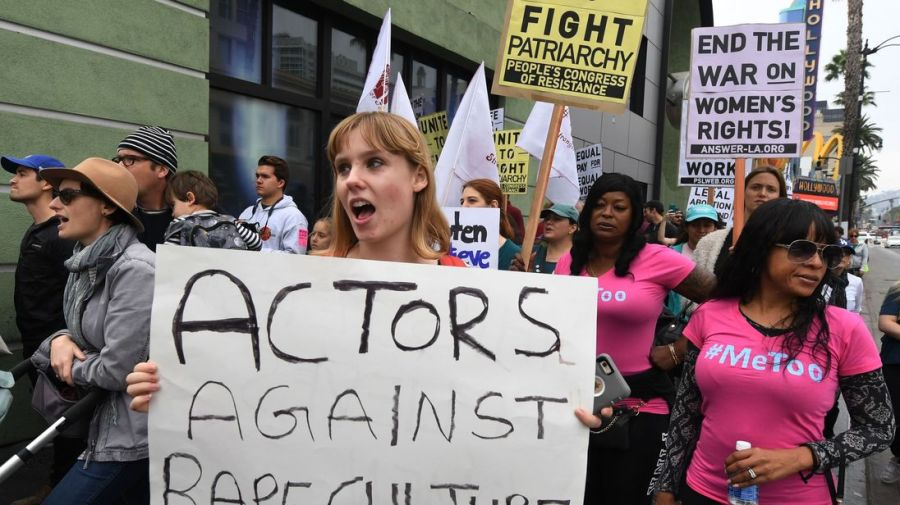 Victims of sexual harassment, sexual assault, sexual abuse and their supporters protest during a #MeToo march in Hollywood, California on November 12, 2017. Several hundred women gathered in front of the Dolby Theatre in Hollywood before marching to the CNN building to hold a rally. / AFP PHOTO / Mark RALSTON (Photo credit should read MARK RALSTON/AFP/Getty Images)