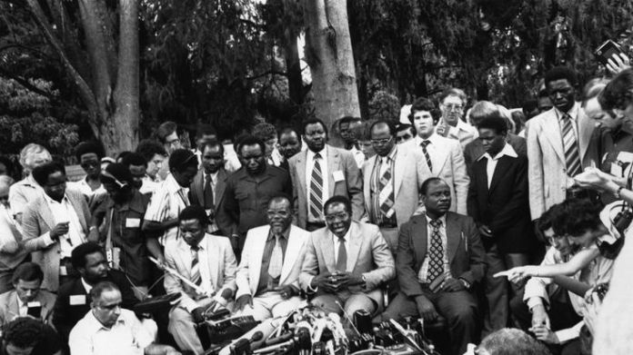 6th March 1980: Dr Robert Gabriel Mugabe, newly elected President of Zimbabwe, holds a Press Conference in his garden in Mount Pleasant, Salisbury   A modern history of a nation skynews robert mugabe 4160730