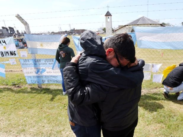 Relatives and friends of Tagliapietra, one of the 44 crew members of the missing at sea ARA San Juan