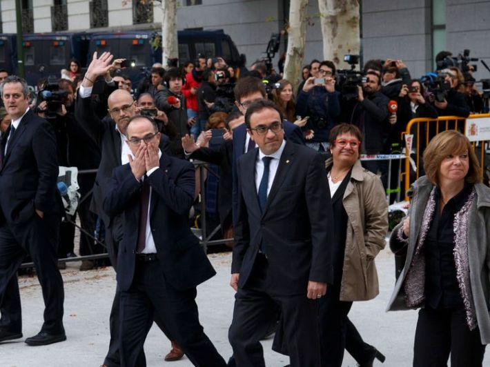 Former members of the Catalan government arrive at Spain's National High Court
