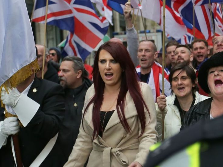 Deputy leader Jayda Fransen at a march in central London