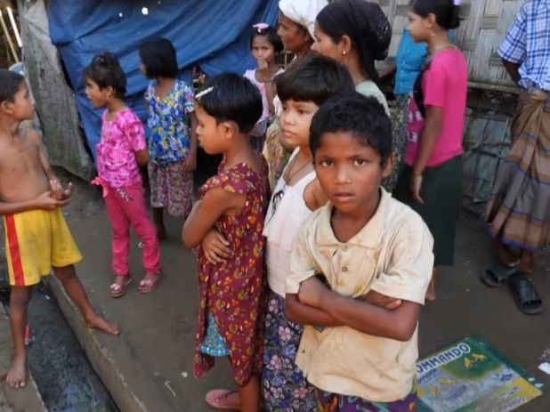 Children inside a Myanmar camp for Rohingya