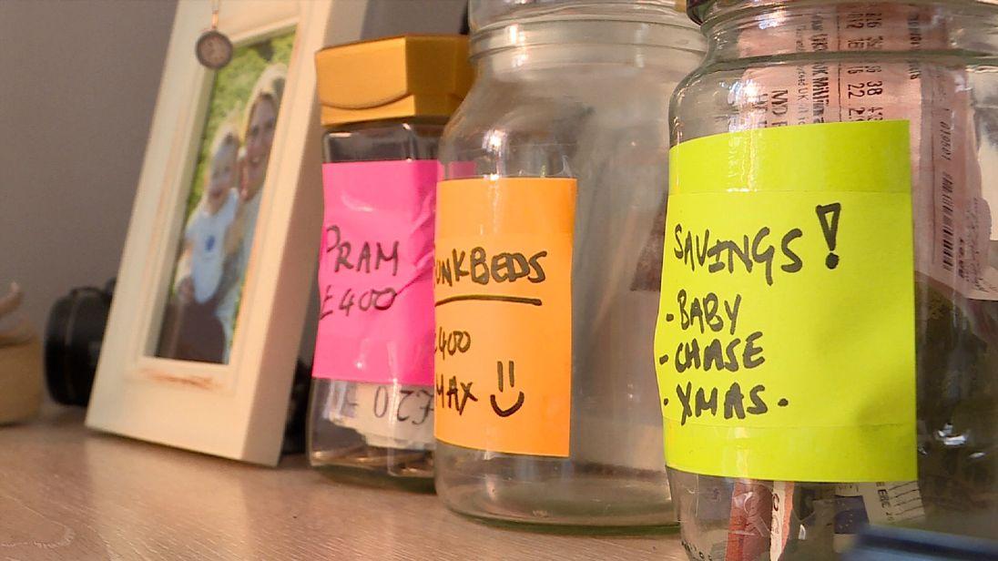 Single mum Stacey Scannell's savings jars