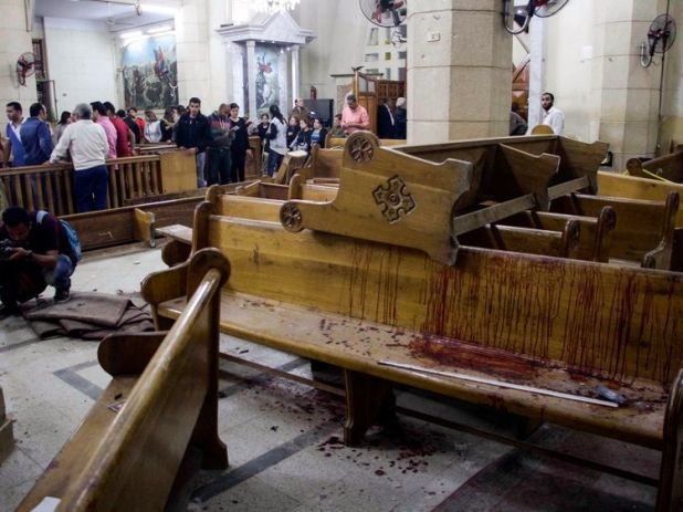Worshippers were killed at the Mar Girgis Coptic Church in Tanta in April 2017