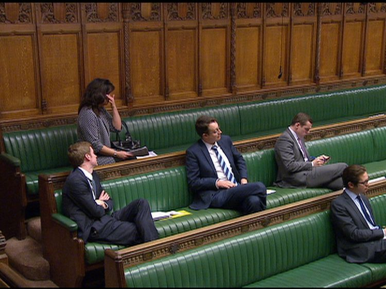 The MP wiped away tears as she sat back down