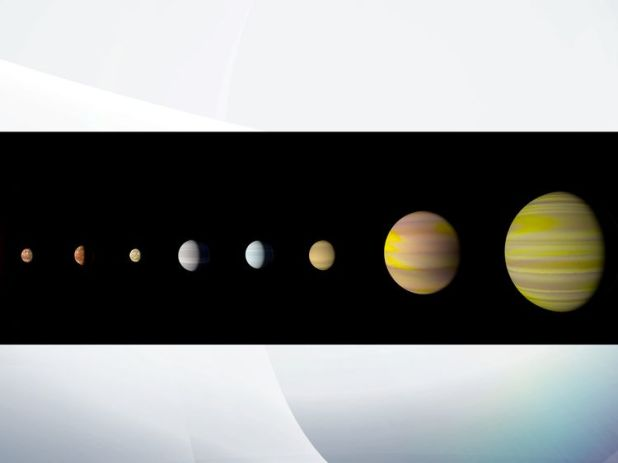 With the discovery of an eighth planet, the Kepler-90 system is the first to tie with our solar system in number of planets. Credits: NASA/Wendy Stenzel