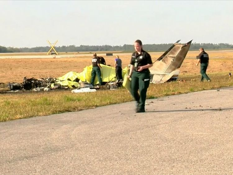 The plane was on fire by the time emergency crews arrived