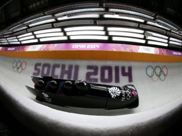 Great Britain's team of John James Jackson, Stuart Benson, Bruce Tasker and Joel Feardon  in run 3 of the men's 4 man Bobsleigh at the Sanki Sliding Centre during the 2014 Sochi Olympic Games