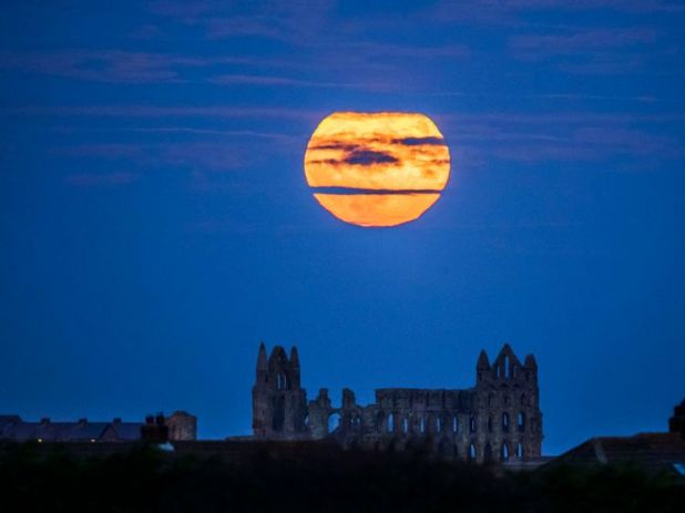 The 'supermoon' rises above Whitby Abbey in Yorkshire