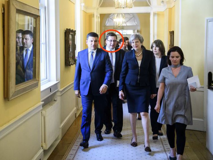 (L-R) Volodymyr Groysman, Stanislav Yezhov and Theresa May