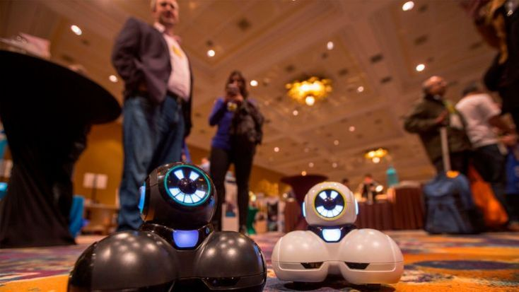 The new Cue robots, which are designed to teach kids as young as kindergarten to code, are shown at Pepcom's Digital Experience event