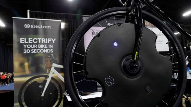 An Electron Wheel is shown on a bicycle during CES Unveiled at the 2018 CES in Las Vegas, NevadA