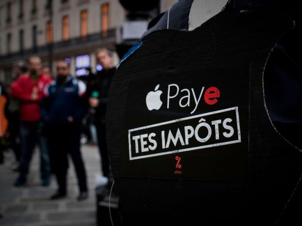 Apple has been targeted by tax evasion protesters in France