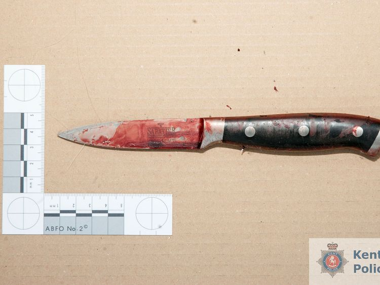 The knife allegedly used by Joshua Stimpson to attack Ms McLaren. Pic: Kent Police