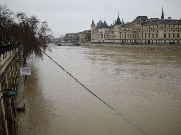 The Seine broke its banks on Tuesday