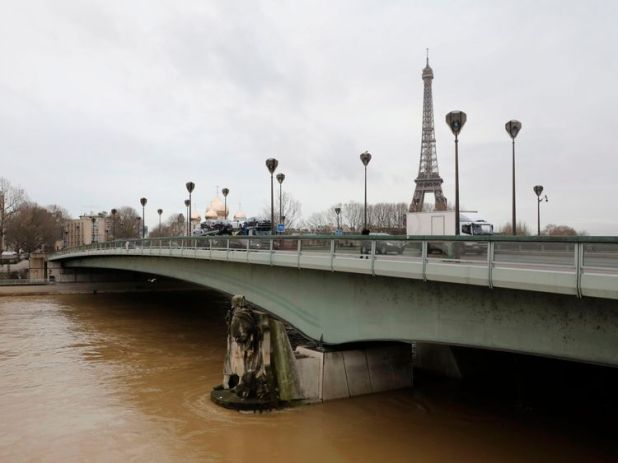 The swollen River Seine at the Pont d'Alma